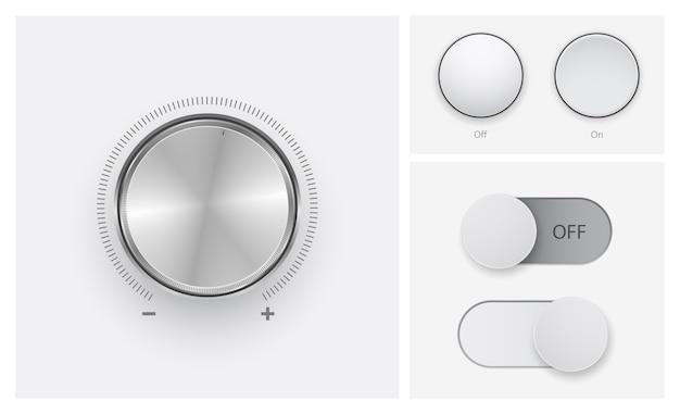 Control de nivel de volumen en conjunto de iconos de botones de apagado