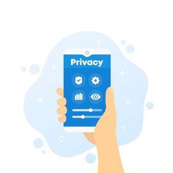 Control de privacidad, teléfono en mano, vector
