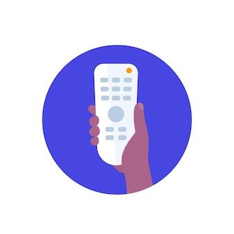 Control remoto de tv, rc en mano, icono de vector