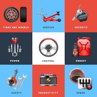 El control de seguridad del servicio de auto para autos y los iconos planos de equipos de vehículos de carga establece una ilustración vectorial abstracto aislado