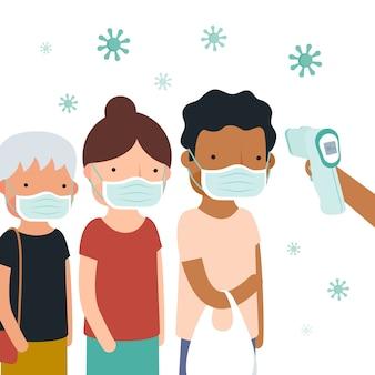 Control de la temperatura del cuerpo público.