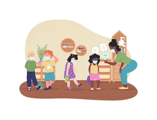 Control de temperatura del jardín de infantes durante el póster web de covid