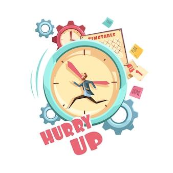 Control de tiempo de diseño de dibujos animados retro con hombre corriendo en el calendario de fondo del reloj y engranajes grises