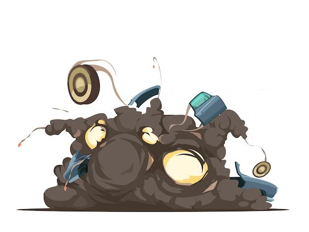 Controla a distancia el momento de detonación de la explosión del coche con restos volando en el lugar de la explosión retro