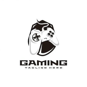 Controlador de juego, juego e logo deportivo.