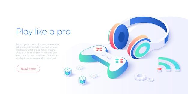 Controlador de videojuegos y auriculares en isométrico.