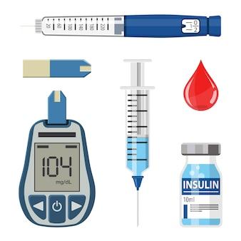 Controle su concepto de diabetes. conjunto de iconos con medidor de glucosa en sangre, jeringa de pluma de insulina. aislado