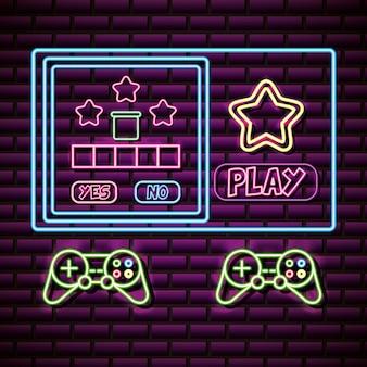 Controles y objetos de videojuegos sobre pared de ladrillo, estilo neón