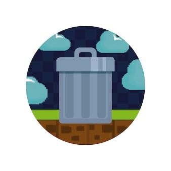Controles de videojuegos y trofeo pixelado icono.