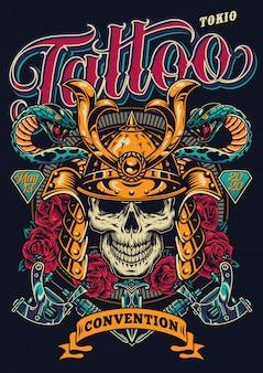 Convención de tatuajes en cartel colorido de tokio