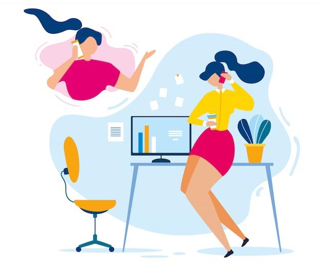 Conversación de amigos de dibujos animados mujer teléfono móvil