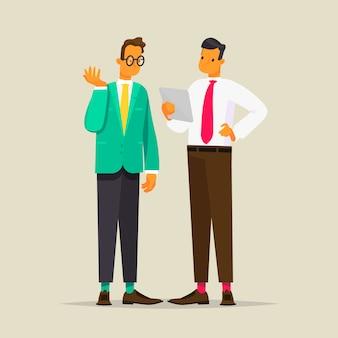Conversación de dos hombres de negocios, ilustración en estilo plano