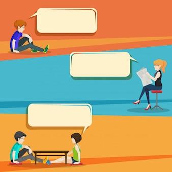 Conversación estilo infografía con personas.