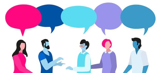 Conversación de gente colorida