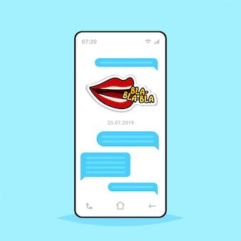 Conversación en línea aplicación de chat móvil enviando mensajes de recepción con bla bla bla pegatina aplicación de mensajería comunicación concepto de medios sociales pantalla del teléfono inteligente