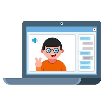 Conversación en línea con un hombre. ilustración plana de la computadora portátil. comunicación por chat vector plano