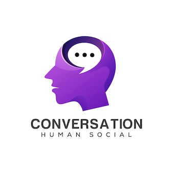 Conversación logo social humano, consultoría, redes sociales, talk talk, forum, head people con concepto de logo bubble chat