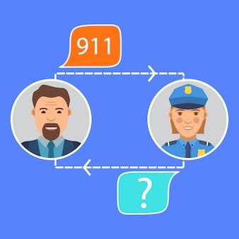 Conversación del oficial de policía con el hombre