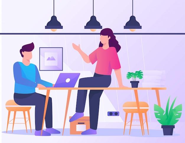 Conversación sobre escritorio, oficina, ilustración, niña