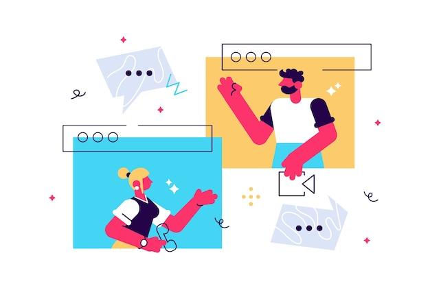 Conversación de videollamada utilizando el concepto de personas diminutas de computadora webcam en línea.