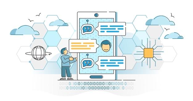 Conversación virtual de chatbot con concepto de esquema de servicio de respuesta de robot en línea. asistente de inteligencia artificial para la ilustración automatizada de soporte al cliente. diálogo de bot de ia como método de asistencia técnica.