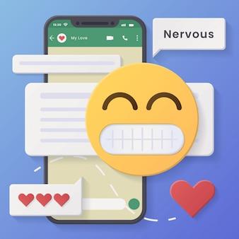 Conversaciones en redes sociales con burbujas de chat y emoticones haciendo muecas.