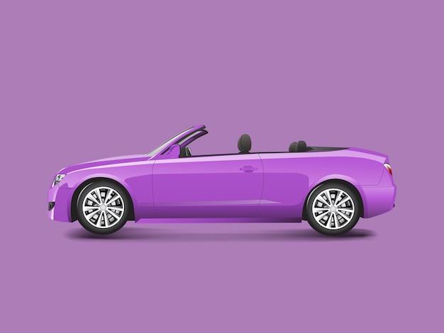 Convertible púrpura en un vector de fondo púrpura