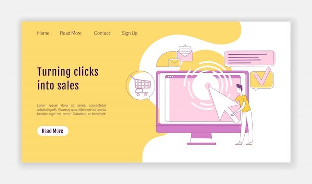 Convertir los clics en una plantilla de silueta de página de destino de ventas. diseño de la página de inicio de marketing ppc. interfaz de sitio web de una página con personaje de contorno de dibujos animados. banner web de generación de tráfico, página web