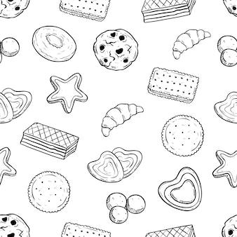 Coockies sabrosos en patrones sin fisuras con estilo dibujado a mano