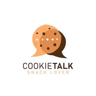 Cookie cookies hablar logo icono símbolo con dos cookies en burbuja cómica hablar discusión hablar forma ilustración