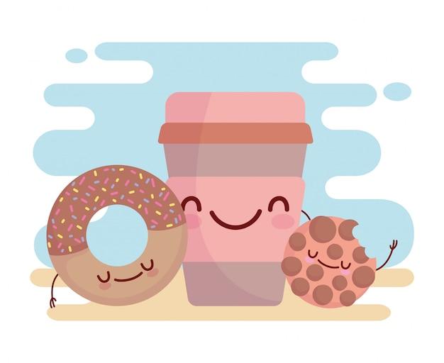 Cookie donut y taza de café menú personaje dibujos animados comida lindo