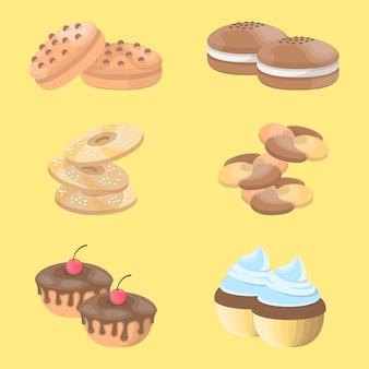 Cookies icon set ilustración