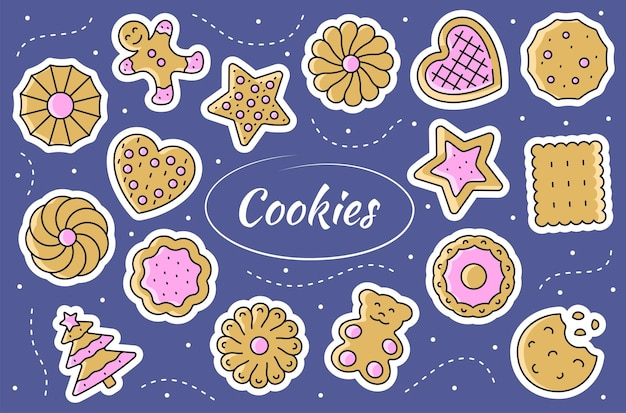 Cookies - juego de pegatinas. ilustración de pan de jengibre.