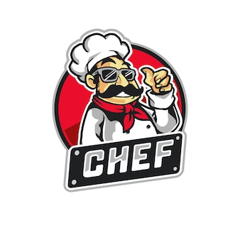 Cool chef cooking mascot logo illustration