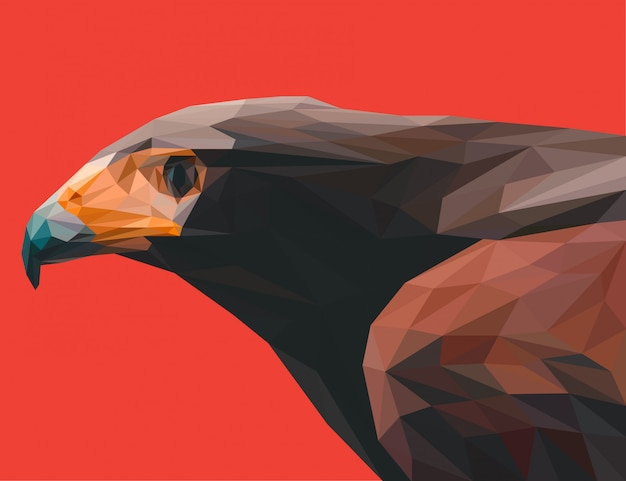 Cool eagle head vector poligonal