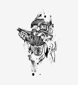 Cool hipster con cerveza - ilustración de vector de boceto dibujado a mano.