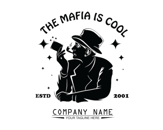 Cool mafia design logo vector
