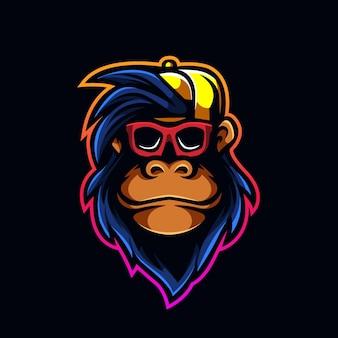 Cool monkey con cabeza de logotipo de juego de mascota de tapa de vidrio