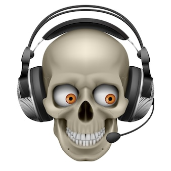 Cool skull con auriculares