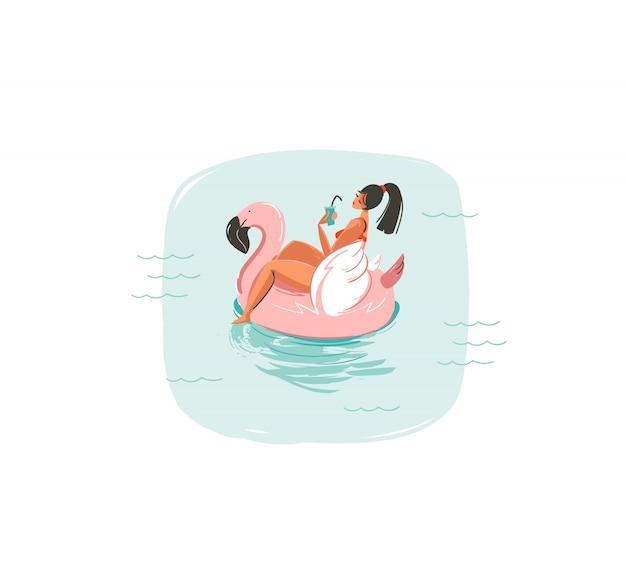 Coon dibujado a mano icono de ilustraciones divertidas de horario de verano con niña nadando en flotador de anillo de boya de flamenco rosa en olas del océano azul sobre fondo blanco