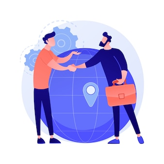 Cooperación comercial internacional. empresaria y empresario estrecharme la mano. colaboración global, acuerdo, ilustración del concepto de asociación internacional