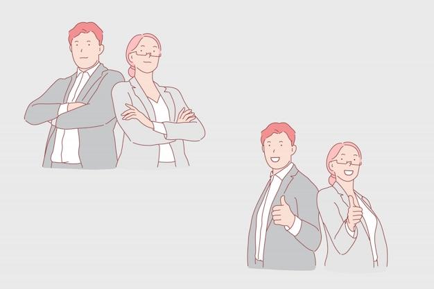Cooperación empresarial, asociación, ilustración de trabajo armonioso