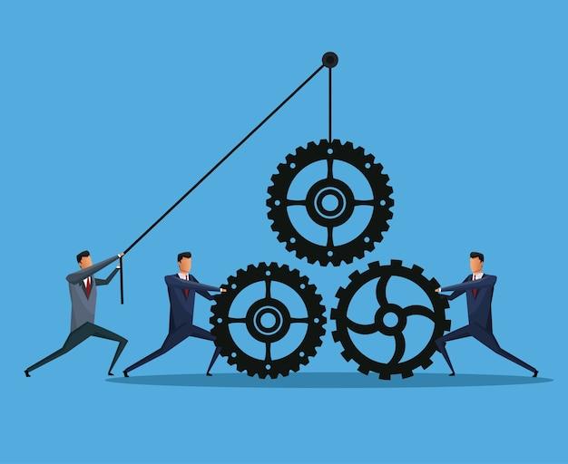 La cooperación empresarial de los hombres engrana el trabajo en equipo