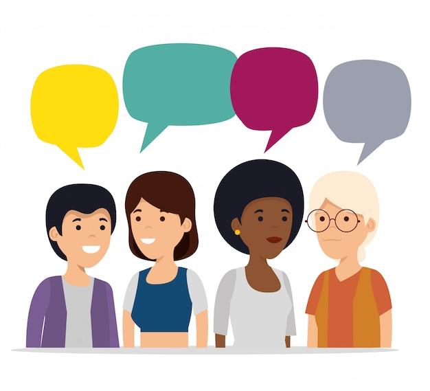 Cooperación de personas con burbuja de chat social