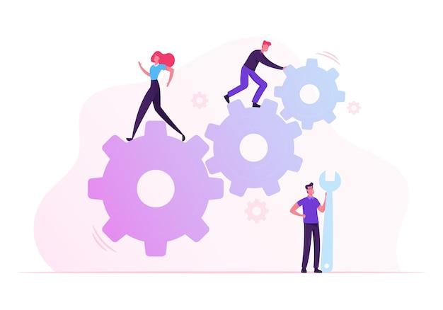Cooperación de trabajo en equipo en el mecanismo de engranajes. ilustración plana de dibujos animados