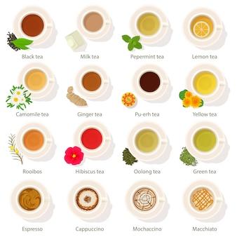Copa de bebida vista superior iconos conjunto. ejemplo de la historieta de los iconos planos del vector de la opinión superior de la bebida de 16 tazas para el web