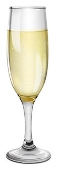 Copa con champagne sobre fondo blanco.