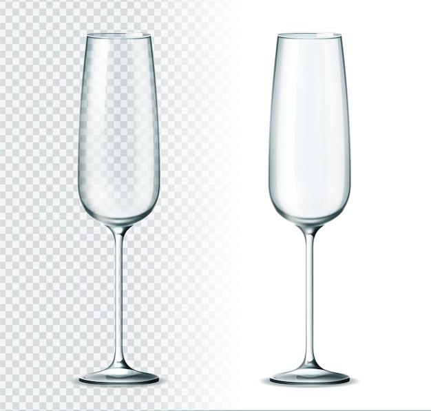 Copa de champán realista sobre fondo transparente. copa de flauta de champán. cristalería de restaurante de lujo para bebidas alcohólicas. vasos clásicos vacíos para celebración navideña