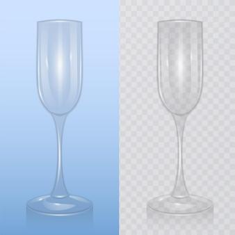 Copa de champán vacía, sobre fondo transparente, cristalería para bebidas alcohólicas, flauta de champán, ilustración realista