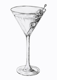 Copa de cóctel martini dibujado a mano